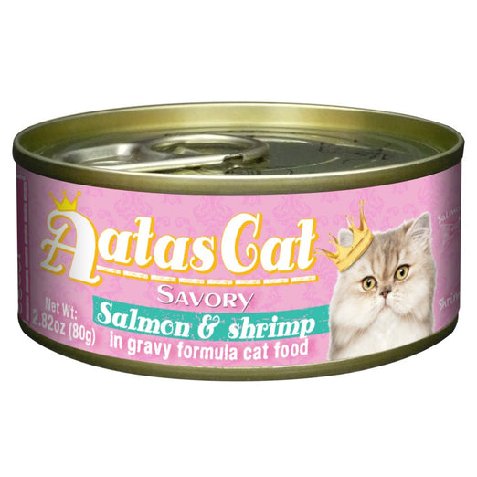 Aatas Cat Savory Salmon & Shrimp in Gravy Canned Cat Food 80g - Kohepets
