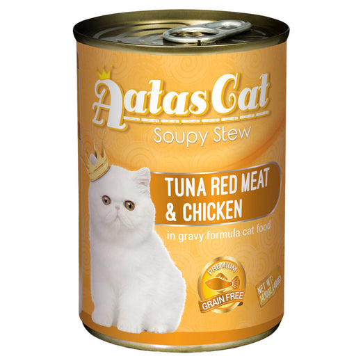 Aatas Cat Soupy Stew Tuna Red Meat With Chicken In Gravy Canned Cat Food 400g - Kohepets