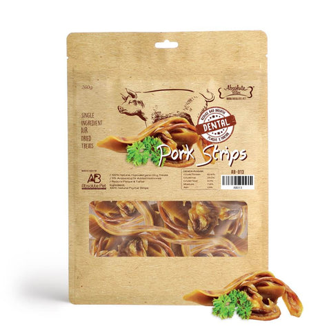 Absolute Bites Air Dried Pork Strips Dog Treats 260g