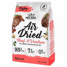 'FREE TREATS': Absolute Holistic Beef & Venison Air Dried Grain-Free Cat Food 500g (LIMITED TIME)!