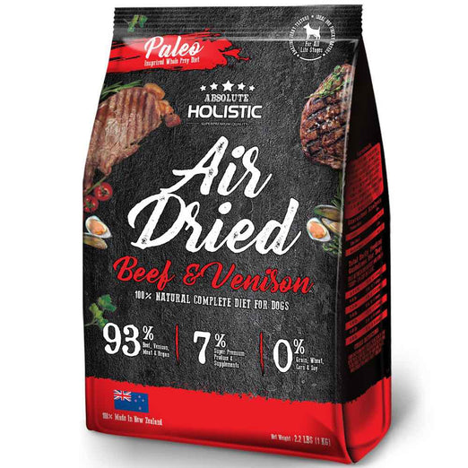 2 FOR $88: Absolute Holistic Air Dried Beef & Venison Dog Food 1kg