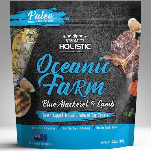 3 FOR $19.90: Absolute Holistic Air Dried Blue Mackerel & Lamb Dog Treats 100g