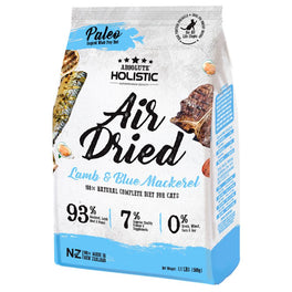 'FREE TREATS': Absolute Holistic Blue Mackerel & Lamb Air Dried Grain-Free Cat Food 500g (LIMITED TIME)!
