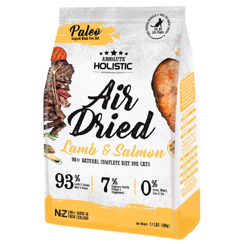 Absolute Holistic Lamb & Salmon Air Dried Grain-Free Cat Food 500g - Kohepets
