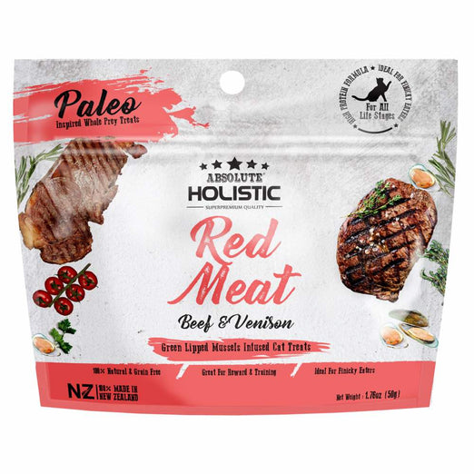 2 FOR $8.80: Absolute Holistic Red Meat Beef & Venison Air Dried Grain-Free Cat Treats 50g - Kohepets