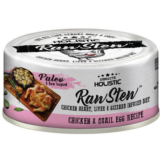 Absolute Holistic Raw Stew Chicken & Quail Egg Grain-Free Canned Cat & Dog Food 80g