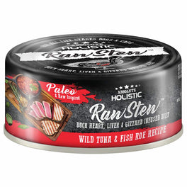 6 FOR $9.90: Absolute Holistic Raw Stew Wild Tuna & Fish Roe Grain-Free Canned Cat & Dog Food 80g