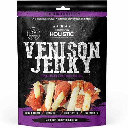 10% OFF: Absolute Holistic Venison Jerky Dumbbell Grain Free Dog Treats 100g
