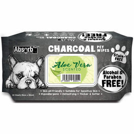 3 FOR $15: Absorb Plus Charcoal Aloe Vera Scented Pet Wipes