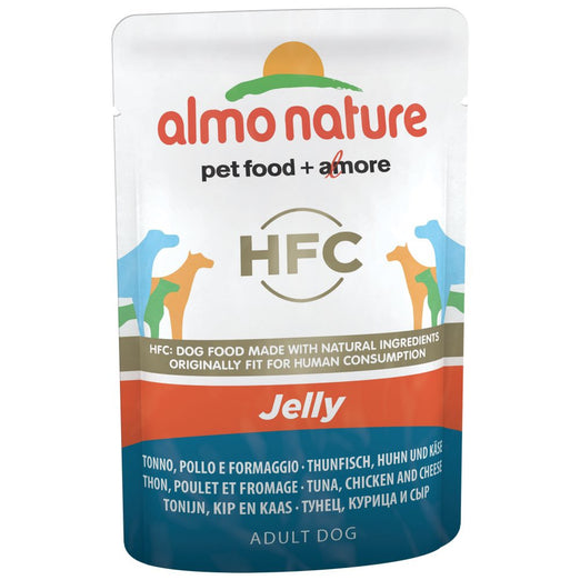 BUY 5 GET 1 FREE: Almo Nature Classic Tuna, Chicken & Cheese In Jelly Pouch Dog Food 70g