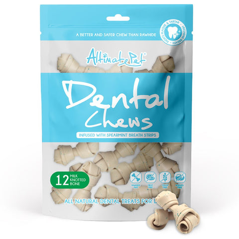 28% OFF: Altimate Pet Milk & Spearmint Knotted Bone Dental Dog Treats 12pc - Kohepets