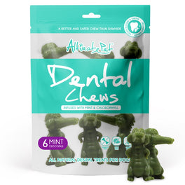2 FOR $12: Altimate Pet Mint & Chlorophyll Crocodile Dental Dog Treats 6pc