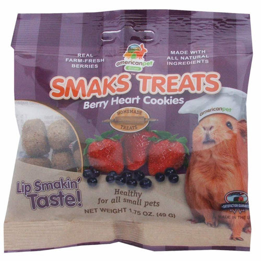 American Pet Diner Smaks Treats Berry Heart Cookies For Small Animals 1.75oz - Kohepets