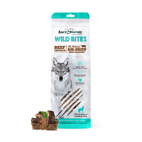 20% OFF: Back-2-Nature Wild Bites Beef Chunks Air Dried Dog Treats 150g - Kohepets