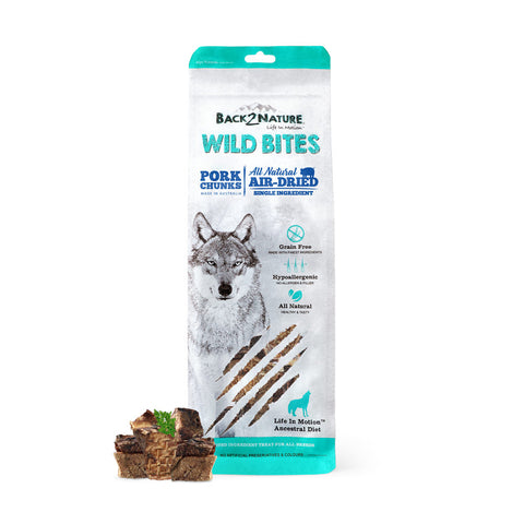 30% OFF: Back-2-Nature Wild Bites Pork Chunks Air Dried Dog Treats 150g - Kohepets