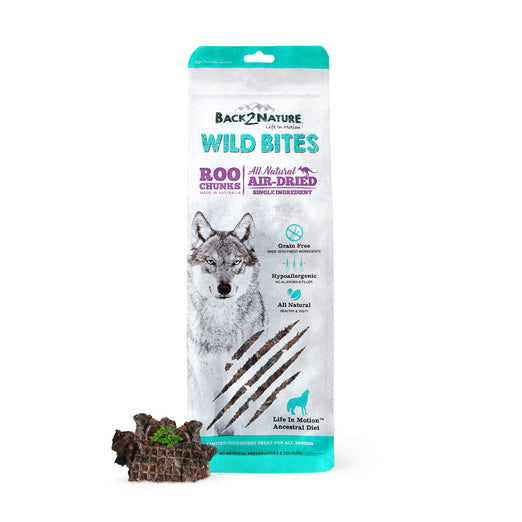 30% OFF: Back-2-Nature Wild Bites Roo Chunks Dog Air Dried Treats 100g - Kohepets