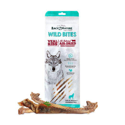 30% OFF: Back-2-Nature Wild Bites Veal Ribs Air Dried Dog Treats 100g - Kohepets