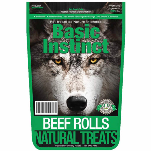 Basic Instinct Beef Rolls Natural Dog Treat 200g - Kohepets