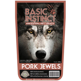 Basic Instinct Pork Jewels Dog Treats 200g