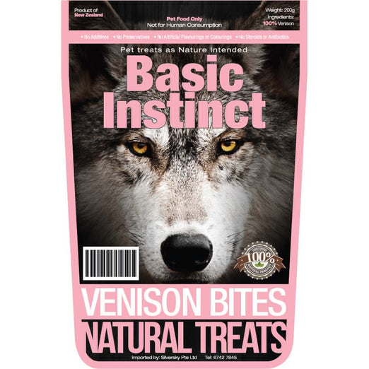 Basic Instinct Venison Bites Natural Dog Treats 200g