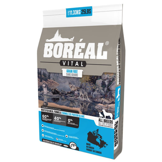 25% OFF + FREE TREATS: Boreal Vital Whitefish Meal Grain-Free Dry Dog Food