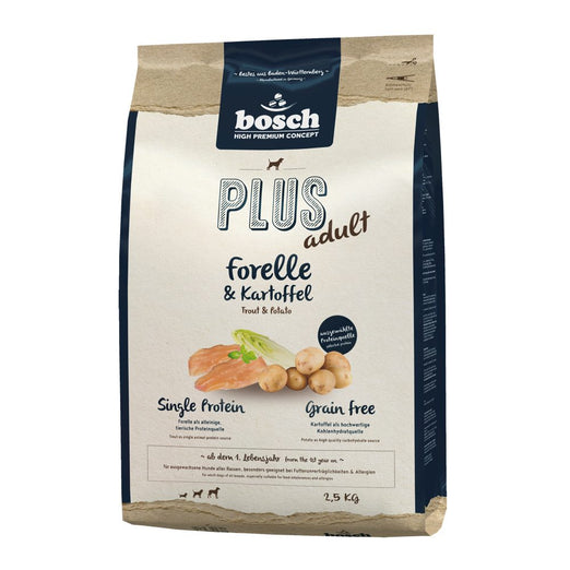 '30% OFF 2.5kg (Exp 1 Jan) + FREE Chew': Bosch High Premium Plus+ Trout & Potato Grain Free Dry Dog Food - Kohepets
