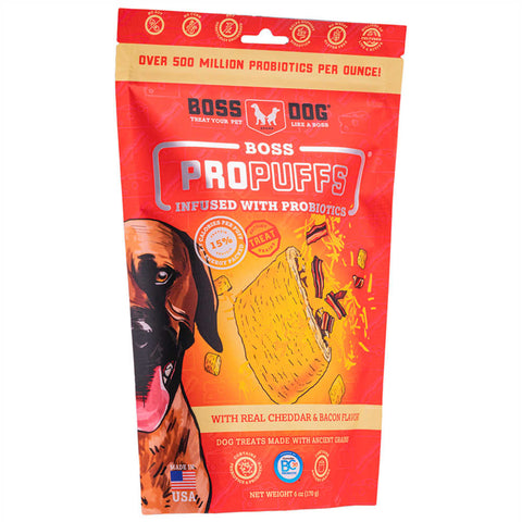 3 FOR $42: Boss Dog Propuffs Cheddar & Bacon Dog Treats 170g - Kohepets