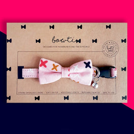 Bowtix Handmade Cat Collar With Removable Bowtie - Cross Cross