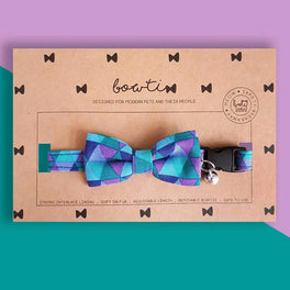 Bowtix Handmade Dog Collar With Removable Bowtie - Geometrics Amethyst