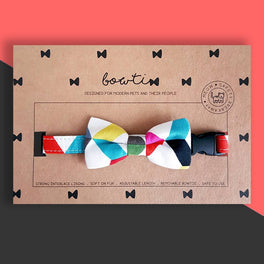Bowtix Handmade Cat Collar With Removable Bowtie - Candy Strips