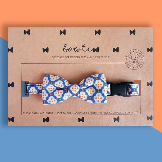 Bowtix Handmade Dog Collar With Removable Bowtie - Dainty Motif