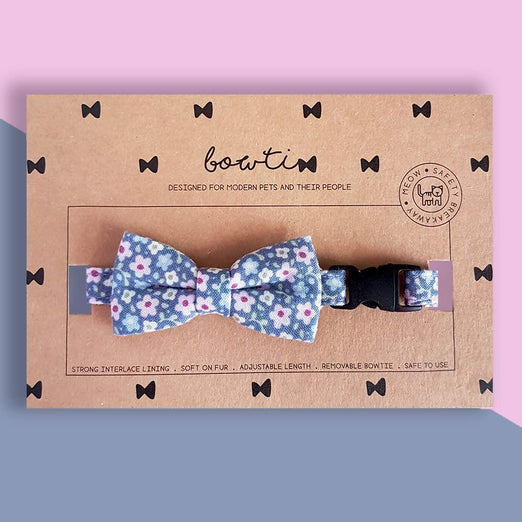 Bowtix Handmade Cat Collar With Removable Bowtie - Periwinkie