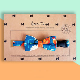 Bowtix Handmade Dog Collar With Removable Bowtie - Kotoritachi (Teal)