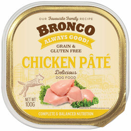 25% OFF: Bronco Chicken Pate Adult Grain-Free Tray Dog Food 100g
