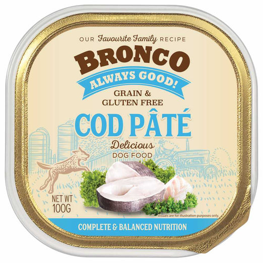 25% OFF: Bronco Cod Pate Adult Grain-Free Tray Dog Food 100g
