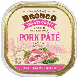 25% OFF: Bronco Pork Pate Adult Grain-Free Tray Dog Food 100g