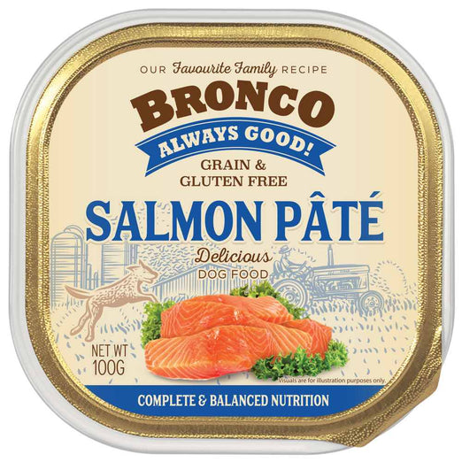 25% OFF: Bronco Salmon Pate Adult Grain-Free Tray Dog Food 100g - Kohepets