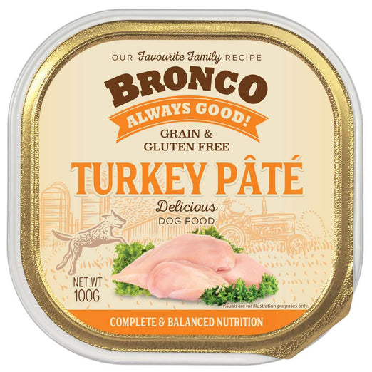 25% OFF: Bronco Turkey Pate Adult Grain-Free Tray Dog Food 100g