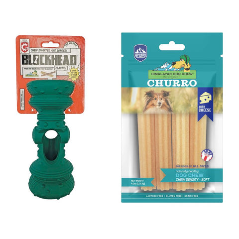 'BUNDLE DEAL': Himalayan Dog Toy Blockhead Chew Guardian Dog Toy + Churro Dog Chew Set