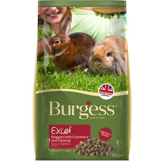 Burgess Excel Tasty Nuggets With Cranberry & Ginseng For Mature Rabbits 2kg - Kohepets