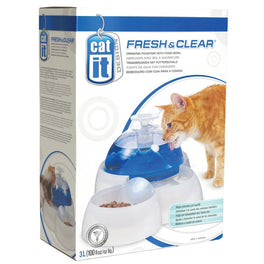 Catit Design Fresh & Clear Drinking Fountain With Food Bowl 3L