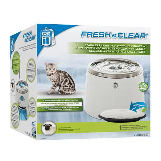 FREE PLACEMAT: Catit Fresh & Clear Stainless Steel Top Drinking Fountain 2L - Kohepets