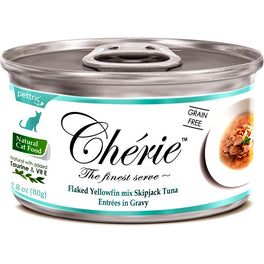 Cherie Flaked Yellowfin Mix Skipjack Tuna Entrées In Gravy Canned Cat Food 80g