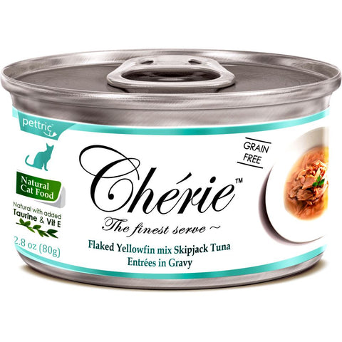 Cherie Flaked Yellowfin Mix Skipjack Tuna Entrées In Gravy Canned Cat Food 80g - Kohepets