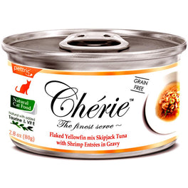 Cherie Flaked Yellowfin Mix Skipjack Tuna With Shrimp Entrées In Gravy Canned Cat Food 80g