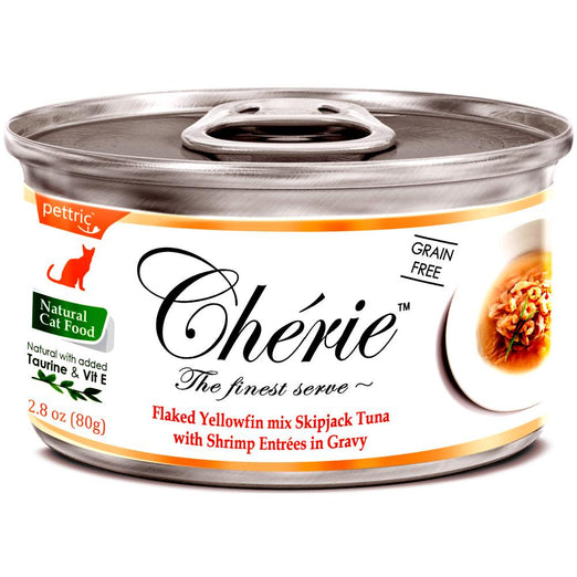 Cherie Flaked Yellowfin Mix Skipjack Tuna With Shrimp Entrées In Gravy Canned Cat Food 80g - Kohepets