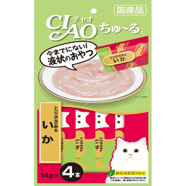 3 FOR $11: Ciao ChuRu Chicken Fillet & Squid Liquid Cat Treat 56g