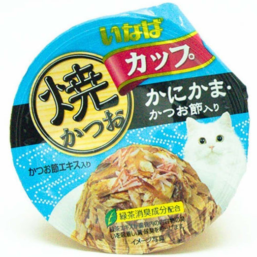 Ciao Grilled Skipjack Tuna In Gravy With Crabstick & Dried Bonito Topping Cup Cat Food 80g - Kohepets