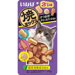 Ciao Soft Bits Mix Tuna & Chicken Fillet Dried Bonito, Chicken Soup & Squid Flavor Cat Treats 25g