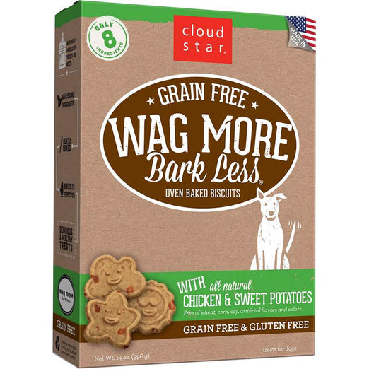 BUY 2 GET 1 FREE: Cloud Star Wag More Bark Less Oven Baked Chicken and Sweet Potatoes Dog Treats 14oz